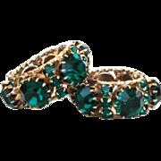 Vintage Chunky Bold Emerald Rhinestone Earrings Never-Ending Hinged Hoop