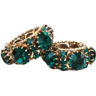 Vintage Chunky Bold Emerald Rhinestone Earrings Never-Ending Hinged Hoop