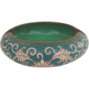Vintage Teal Color Floral Chinese Cloisonné Ashtray Trinket Box