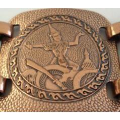 Rare Vintage Ethnic Siam Style Burnished Copper Bracelet Huge Wide Panels