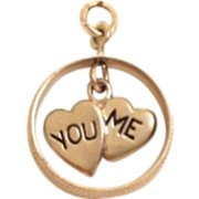 Vintage Sterling Silver Dangling You/Me Hearts Charm Inside Wedding Ring