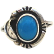 Vintage Signed Native American Ring Sterling & Electric Blue Turquoise Overlaid Leaf