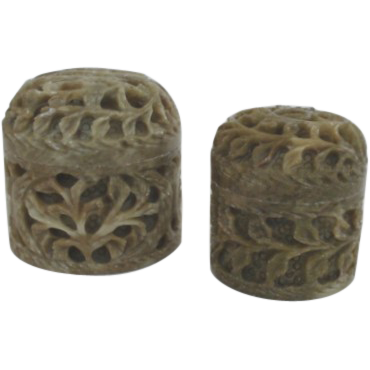 Vintage Pair of Hand-Carved Soapstone Lidded Jars Trinket Holders
