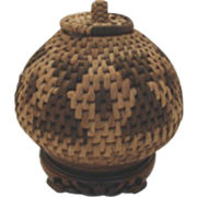 Vintage Northwest Native American Indian Basket Unusual Shape Lidded Handle Geometric Patterns