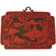 Vintage Chinese Cinnabar Plaque Geisha Pond Cherry Trees Hut Art Nouveau Style Border