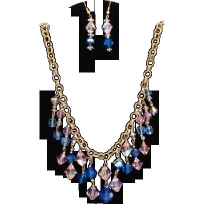 Enchanting Vintage Sapphire Blue & Pink Aurora AB Crystal ...