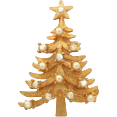Vintage MYLU AB Rhinestone and Faux Pearl Christmas Tree Pin Brooch