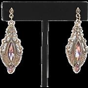 Vintage Estate Style 1928 Art Deco Pierced Dangle Earrings Marcasites Rhinestones