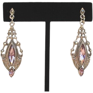 Vintage Estate Style 1928 Art Deco Pierced Dangle Earrings Marcasites Rhinestones