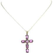 Vintage 10KT Amethyst Gemstone Cross Pendant