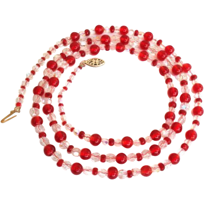 Festive Vintage Red Glass Bead & Aurora AB Crystal Necklace Long