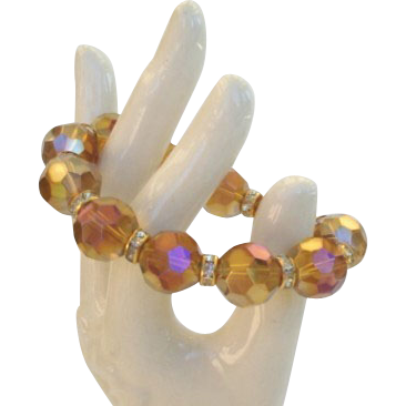 Vintage JUMBO Austrian Crystal Bracelet Rhinestone Encrusted Rondelles