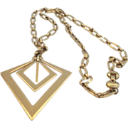 Vintage Modernist Monet Pendant Necklace Gold Tone Diamond Shapes 3-D