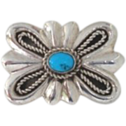 Vintage Native American Stylized Butterfly Brooch Pin Sterling Silver Turquoise