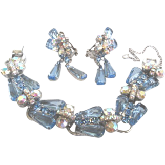 Vintage Juliana D&E Blue Set Bracelet & Earring Dangles