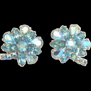 Vintage Weiss Blue Rhinestone Flower Earrings Signed