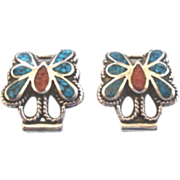 Vintage Native American Butterfly Watch Clips Sterling Silver Turquoise Coral Chip Inlay