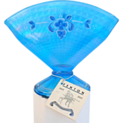 "Vintage Fenton Celeste Blue Stretch Glass Coralene Fan Vase 90th Anniversary 6"""