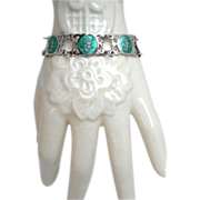 Vintage Siam Sterling Bracelet GREEN Enamel Mekkala Goddess Of Lightning Signed NIELLOWARE