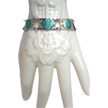 Vintage Siam Sterling Bracelet GREEN Enamel Mekkala Goddess Of Lightning Signed NIELLOWARE