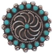 Pristine Vintage Native American ZUNI Brooch Pinwheel Turquoise Sterling Silver 4-Directional