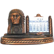 Vintage Souvenir Brass Perpetual Native American Indian Calendar Great Falls Montana Rainbow Dam