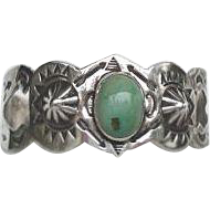 RARE Vintage 1920's Native American Green Turquoise Bracelet Sterling Silver Elaborate Stampings Navajo