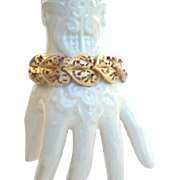 Exquisite Vintage Coro Pegasus Hearts Bracelet Rhinestones Gold Links Signed