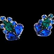 Vintage Sapphire Blue and Emerald Green Rhinestone Earrings