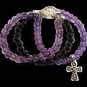 Unique Amethyst Black Onyx Sterling Silver Bracelet Marcasite Cross Charm