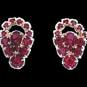 Vintage Red Rhinestone Cut Out Earrings