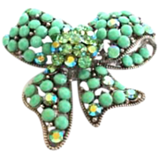 Vintage Kirk's Folly Whimsical Rhinestone Bow Brooch Pendant Pin 3-Dimensional Aurora Borealis