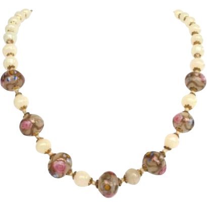 Vintage Italian Glass Wedding Cake Treasure Bead Necklace Hand Blown Opaline Beads