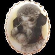 Nostalgic Vintage Porcelain Poodle Dog Portrait Brooch Pin