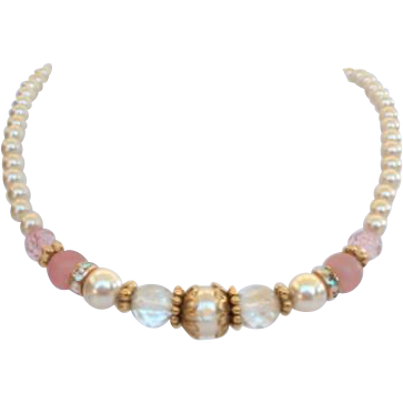 1928 Jewelry Co. Timeless Pink Crystal & Simulated Pearl Necklace Satin Art Glass Beads