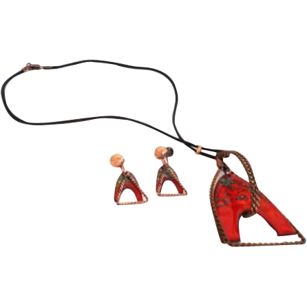 Unique Unusual Vintage Modernist Copper & Speckled Red Enamel Set Necklace Earrings