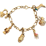 Vintage Mechanical Avon 6 Charms Charm Bracelet