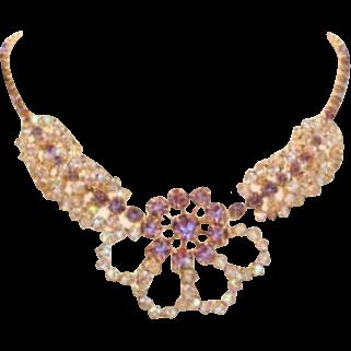 Unique Vintage Purple Lavender & Clear Rhinestone Necklace