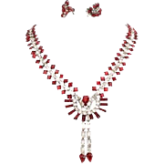Vintage 925 KREISLER Hollywood Glamour Siam Red Rhinestone Set