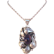 Vintage Sterling Silver Amethyst Signed Mexican Pendant Necklace Loaded With Overlays