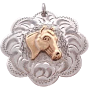 Vintage Equestrian Sterling Pendant Gold Filled Horse Overlay Intricately Engraved