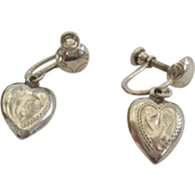 Exquisite Vintage Sterling Engraved Dangling Heart Earrings Marked