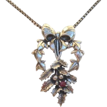 Vintage Ruby Gemstone Sterling Floral and Bow Necklace Signed