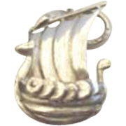 Vintage Norwegian Viking Ship Souvenir Charm Sterling Silver Marked