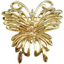 Vintage Signed Danecraft Retro Modern Butterfly Pin Brooch