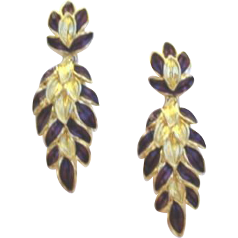 Vintage Trifari Pierced Long Purple Enamel Leaf Earrings Signed