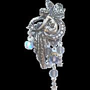 Vintage Kirks Folly Fairy Brooch Pin Moon Stars Crystal Dangles