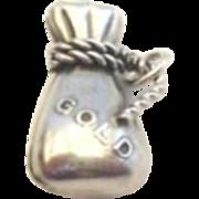 Vintage Miner's Bag of Gold Sterling Silver Charm