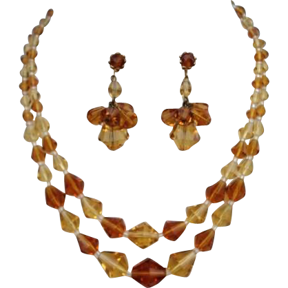 Vintage German Topaz & Citrine Crystal Set Necklace & Dangle Earrings