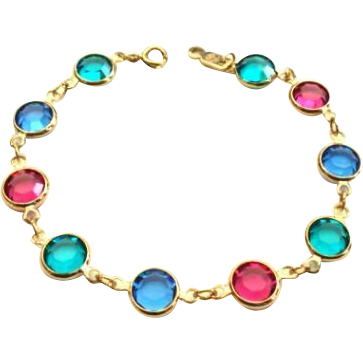 Vintage Swarovski Multiple Color Crystal Bracelet Rose Pink Sapphire Blue & Teal